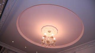 Установка двухуровневых круглых натяжных потолков