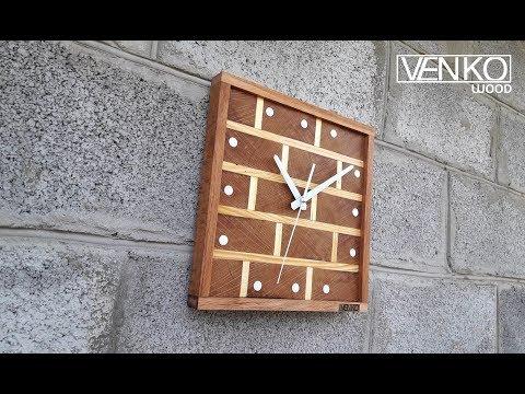 Clock brickwork made of wood | Часы кирпичная кладка из дерева