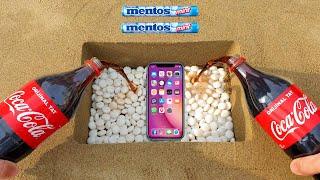 EXPERIMENT !! Phone VS Underground Coca Cola and Mentos