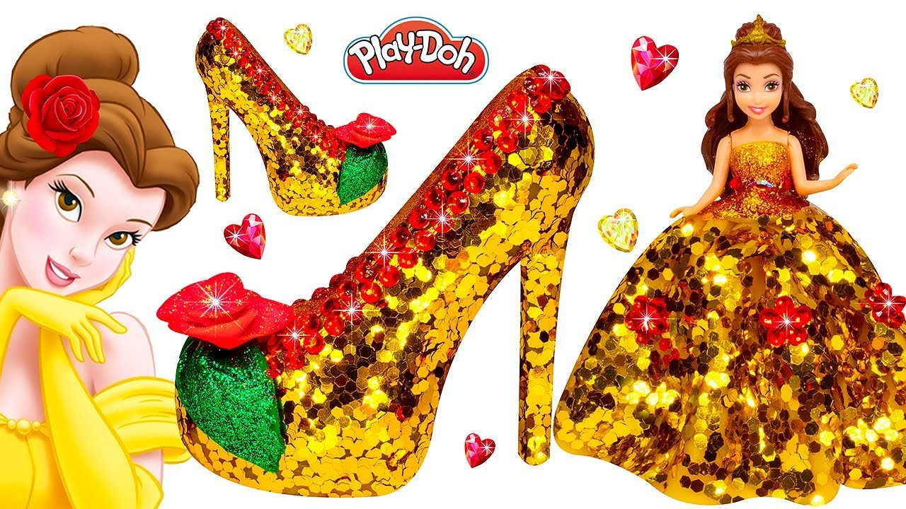 25b288dffec Play Doh Super Sparkle Dress and Shoes High Heels with Glitter for Disney  Princess Belle Doll DIY