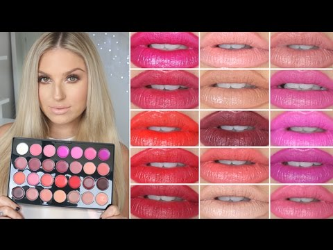 Lip Swatches & Review! ♡ BH Cosmetics 28 Color Lipstick Palette