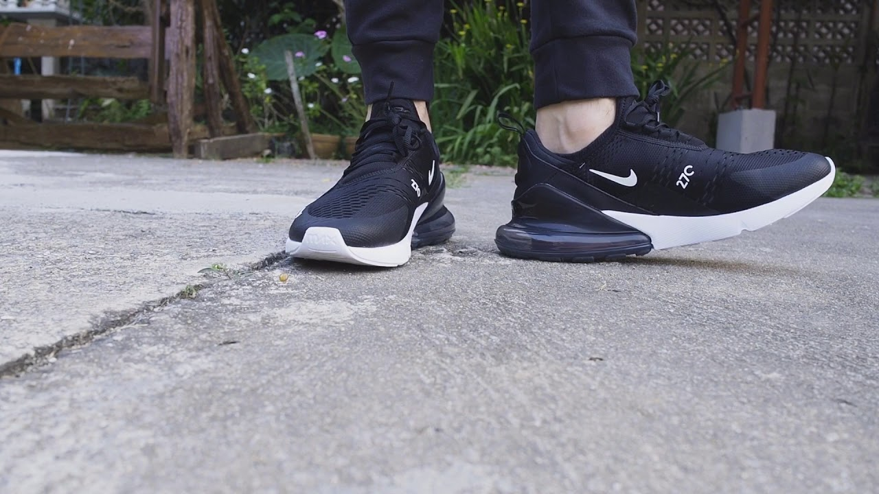 Nike Air Max 270 , Black White , on feet , YouTube
