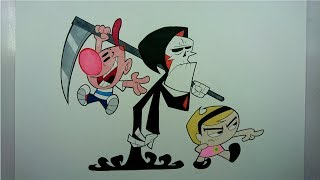 Time Lapse Drawing: Grim, Billy and Mandy from