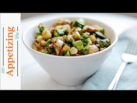 Sautéed Asparagus, Mushrooms and Red Onions | Healthy Vegetarian Side Dish