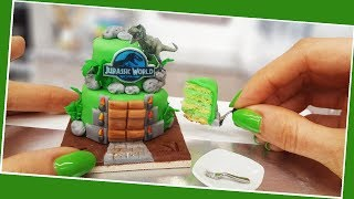 JURASSIC WORLD cake, Amazing mini cake,Jenny's mini cooking, tiny cooking, mini food, real cake