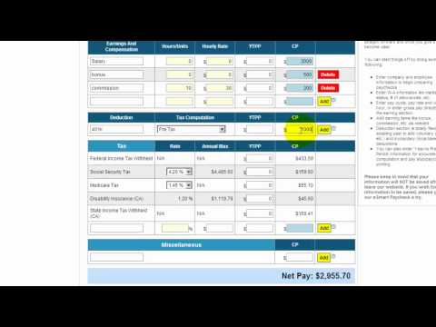 Free payroll tax, paycheck calculator