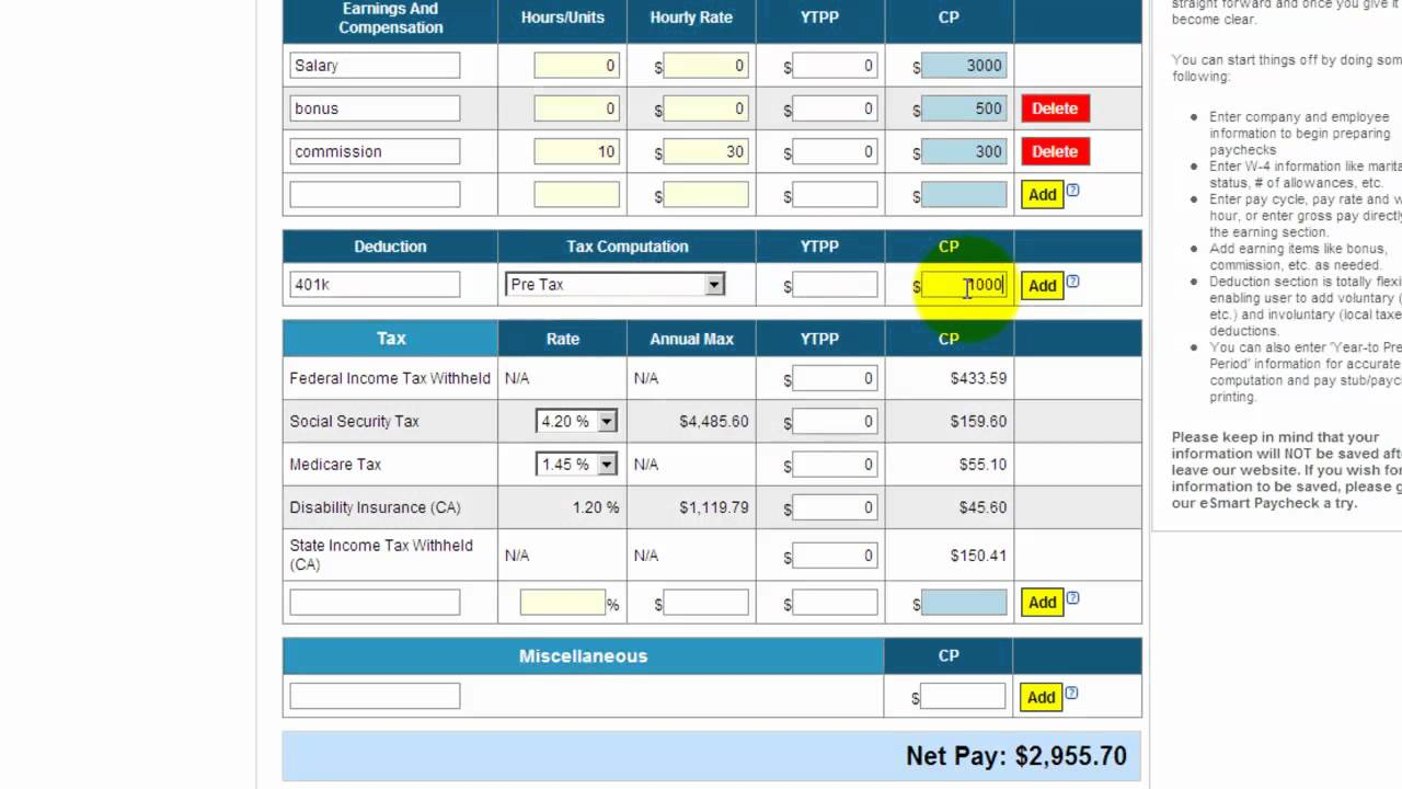 Free payroll tax, paycheck calculator - YouTube