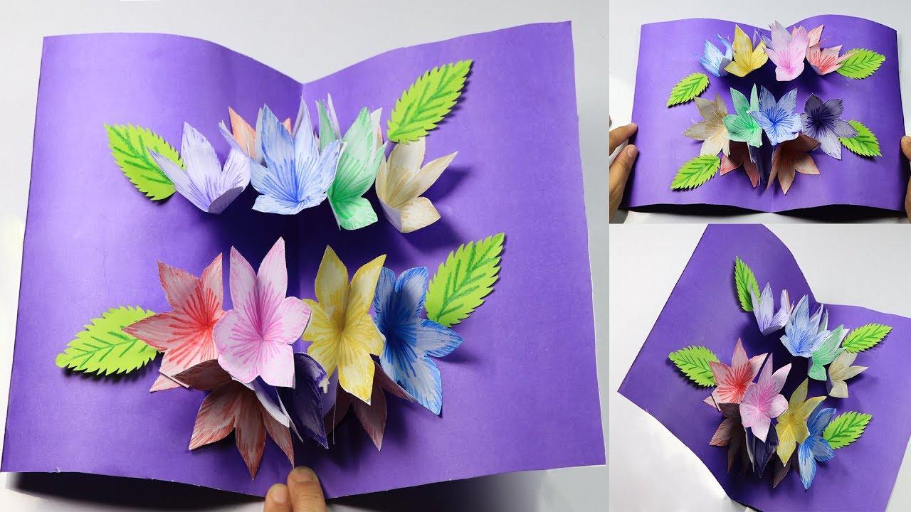 How to Make: DIY Flower Bouquet Pop up Card - Paper Craft - Handmade ...