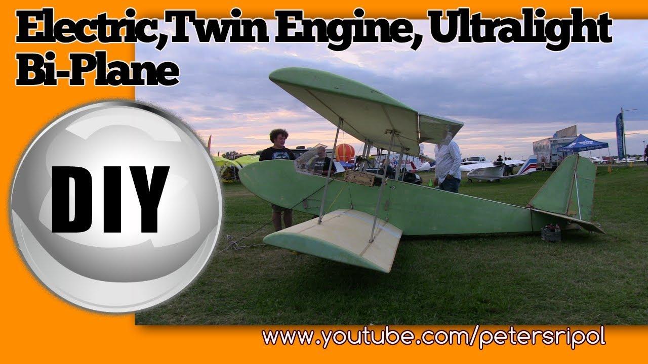Electric DIY Twin Engine Ultralight Aircraft Bi Plane by Peter Sripol