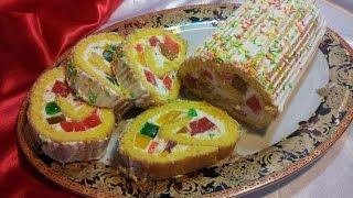Бисквитный рулет с желе. Sponge roll