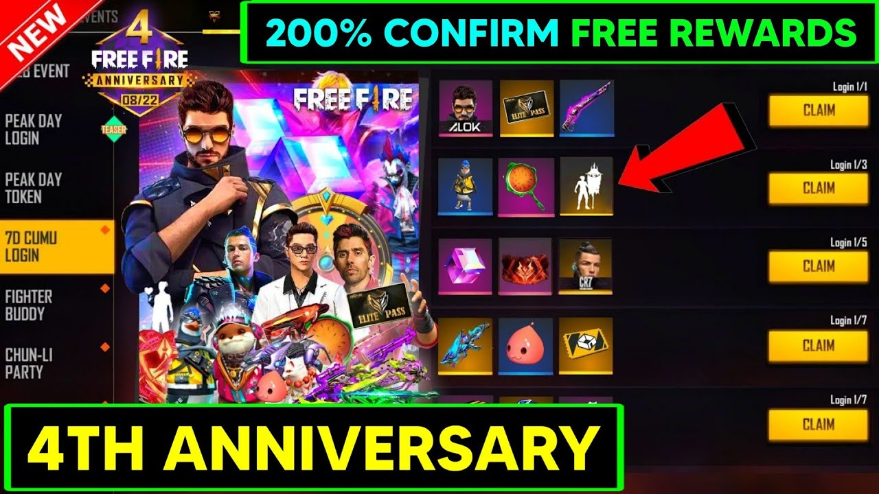 FF NEW EVENT - FREE FIRE 4th ANNIVERSARY 2021 EVENT REWARDS || 4 ANIVERSARY || 4th ANNIVERSARY KAB