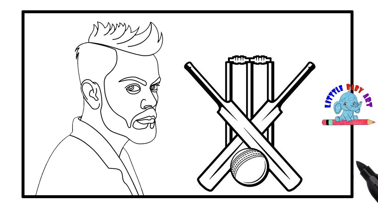 Virat Kohli Drawing and Coloring | Cricket Coloring Pages ...