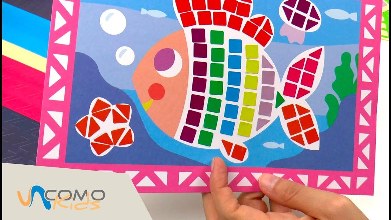 Peces de colores con pegatinas manualidades para los mas for Pegatinas de pared infantiles