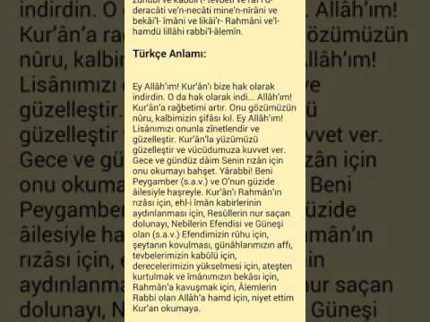 Kur`an ı kerim okumadan önce okunacak dua ''Türkçe açıklamalı''