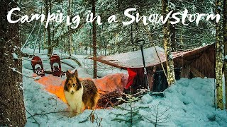 Overnight Winter Camping in a Snowstorm