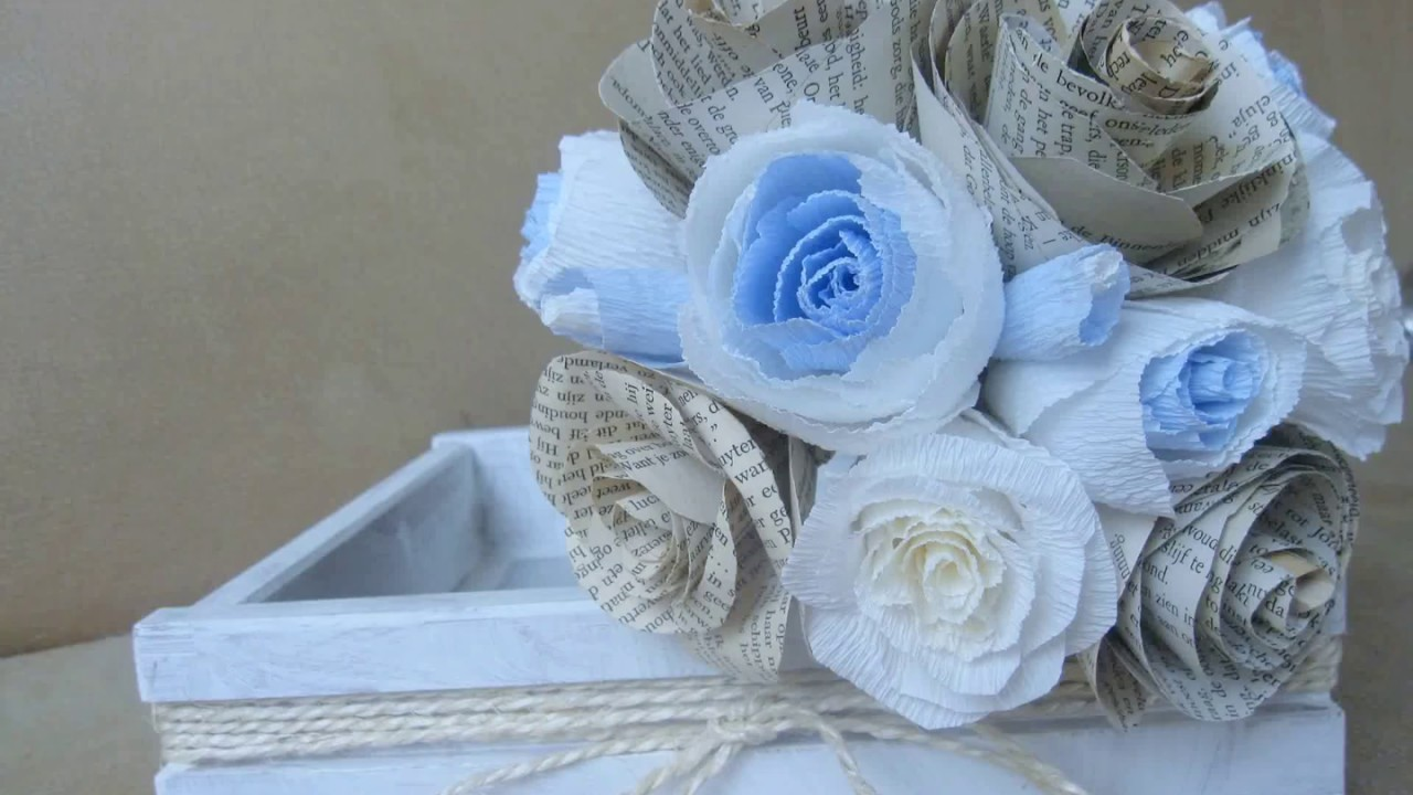 Wedding bouquet diy blue rustic style paper flowers youtube wedding bouquet diy blue rustic style paper flowers izmirmasajfo