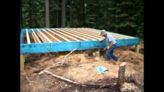 Backwoods Cabin.Episode 5.Perimeter beams up and some joists installed.