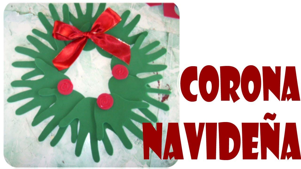 Corona navide a de manos navidad manualidades for Navidad adornos manualidades navidenas