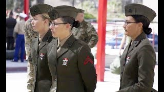 Female Marines arrive to attend MARINE COMBAT TRAINING, Camp Pendleton for the first time