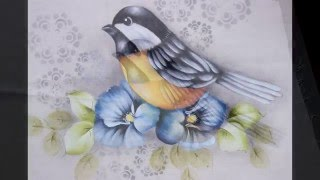 Pintura em tecido – Como pintar passarinho por Eliane Nascimento