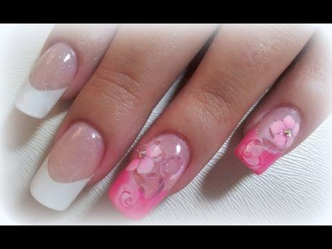 Gelnagel Mit Frenchtips Airbrush Blumen Design Youtube