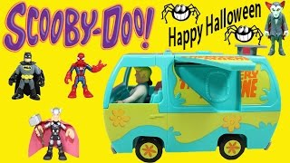 Scooby- Doo Halloween Adventure with Transforming Mystery Machine & Marvel & DC Super Heroes!