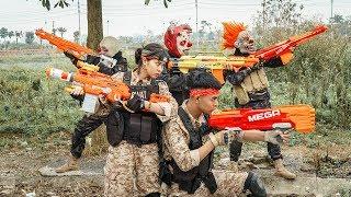 MASK Nerf War : Warrior Alpha Nerf Guns Fight Criminal Group Mask Rescue The Carrier