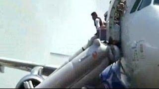 Dramatic evacuation after Indigo plane catches fire