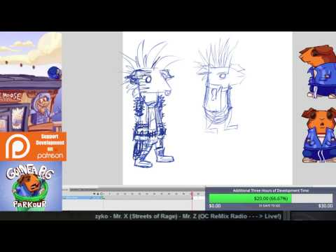 Punk Rocker Enemy Animation - Designing and Penciling (Guinea Pig Parkour Live Stream 18)
