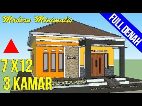 Desain Rumah Minimalis Sederhana Ukuran 7x12 Meter 3 Kamar Ridur 1 Lantai  Dengan Mushola - YouTube