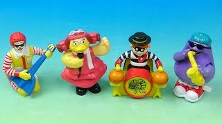 1993 Ronald McDonald Rock Band set of 4 McDonalds Happy Meal Kids Toys Video Review