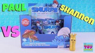 Paul vs Shannon Challenge Smurfs Blind Bag Edition Toy Review | PSToyReviews
