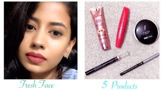 5 Products,5 Mins Fresh Face Everyday Makeup for Office/College