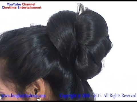 LongHair Bhabi With Amazing Big Bun Bun Fall Video YouTube - Big bun hairstyle youtube