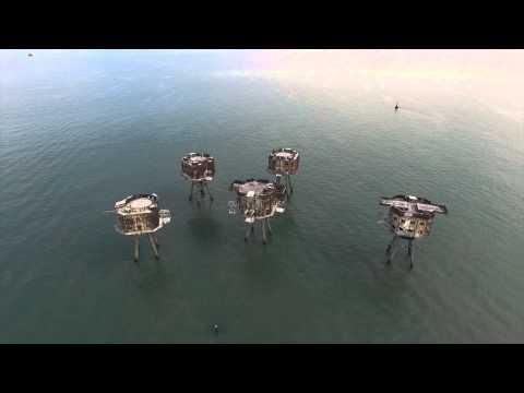Maunsell Sea Fort - Thames Estuary - UAV aerial view.