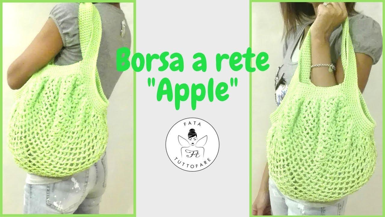 Tutorial Borsa A Rete Apple Crochet Baglafatatuttofare Youtube