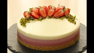 "Клубничный Чизкейк ""ОМБРЕ""✧БЕЗ ВЫПЕЧКИ✧No-Bake Strawberry Cheesecake OMBRE✧Çilekli Cheesecake OMBRE"