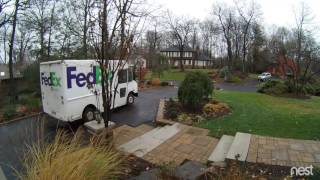 Fastest fedex delivery guy; amazing jumps over stairs