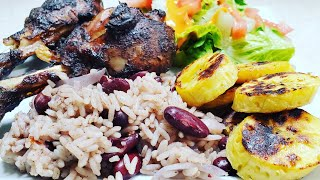 Ninja Foodi Jerk Chicken drumsticks with Pot Rice & Peas and Seared Plantains Walkerswood Jerk BBQ