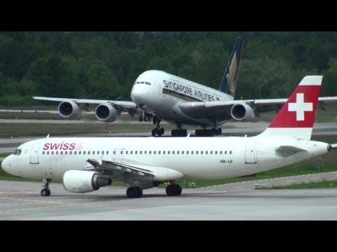 ✈ STRANGE Go-Around - Windy & Busy Airport Zurich ZRH - Crosswind, Singapore Airlines A380 B767