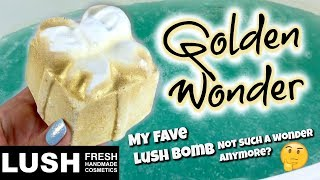 "LUSH - ""Golden Wonder"" CHRISTMAS IN JULY 🎄  2017 Bath Bomb Demo Review Jetted Tub *Deep Thoughts 😉"