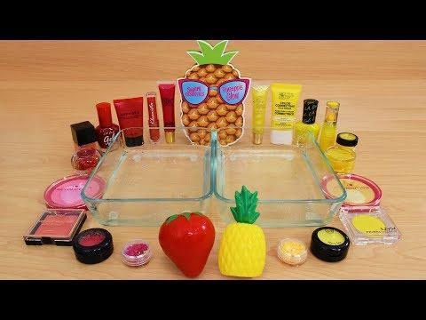 Strawberry Vs Pineapple Mixing Makeup Eyeshadow Into Slime Special Series 195 Satisfying Slime Video