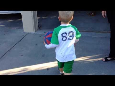 5-yr Old Kicks 3-Point Basketball Goal in Wichita Kansas_131007