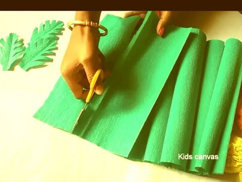 How to make leaves from crepe paper l leaf craft ideas l DIY paper leaf l green leaves making ideas