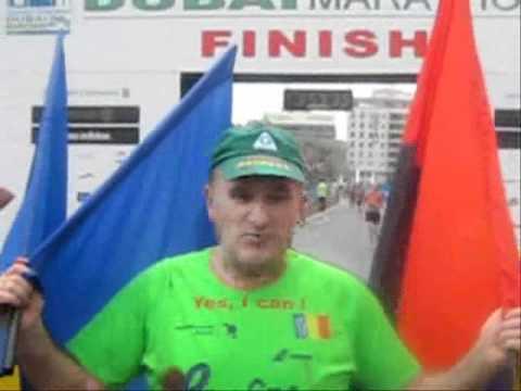 Dubai marathon 2011 with the flags of Romania, United Arab Emirates and European Union