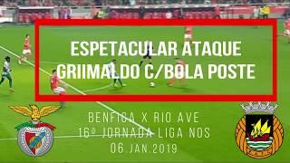 ESPETACULAR DRIBLE GRIMALDO 4 JOGADORES COM BOLA POSTE! Benfica x Rio Ave