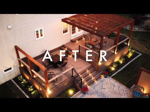Amazing Deck, Patio And Pergola Backyard Transformation - 2 Week Project Time Lapse