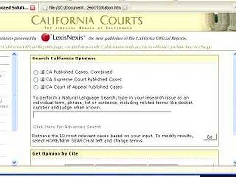 Legal Citations - Using the California Court Website