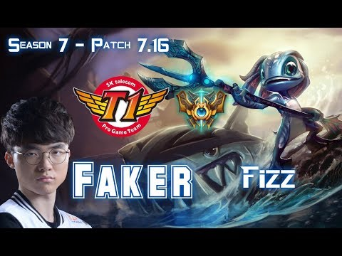 SKT T1 Faker FIZZ vs SYNDRA Mid - Patch 7.16 KR Ranked