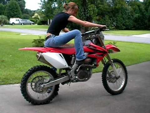 Jordan trying to kick start the dirtbike